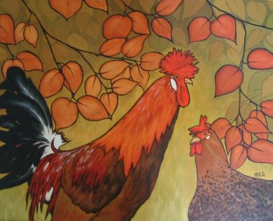 Sicilian Buttercup cock and hen. Acrylic painting