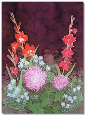 Dahlias and Gladioli silk painting