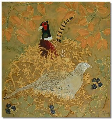 Ringneck Pheasants. Original silk painting