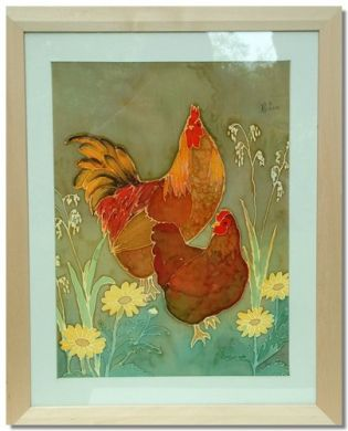 Chickens and Daisies. Original silk painting