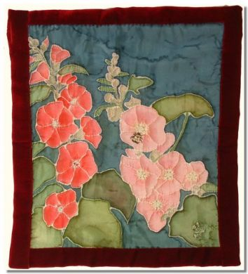 Hollyhock wall hanging. Original silk painting