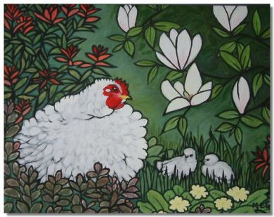 Plymouth Rock Frizzle. Acrylic painting